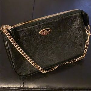 Coach Black Pebbled Leather Wristlet Handbag
